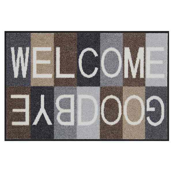 Fußmatte Welcome/Goodbye grau/braun, rutschfest, pflegeleicht, waschbar bei 40° C, L 75 x B 50 cm