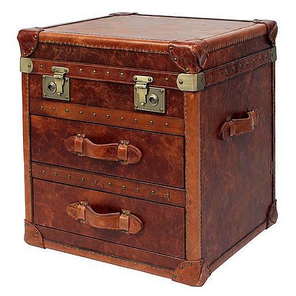 ProPassione Eichholtz Koffertisch, lederbezogen, mit 2 Schubladen, Kupfer/Messing antik, H 60 x B 54 x T 49 cm