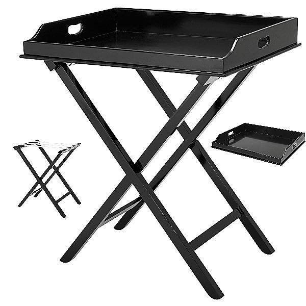 ProPassione Eichholtz Butlertisch, Piano-Lack schwarz, Tablett abnehmbar, klappbar, L 77 x B 60 x H 87 cm