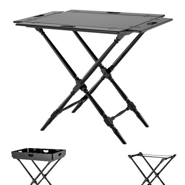 ProPassione Eichholtz Butlertisch Rudolph, Piano-Lack schwarz, Tablett abnehmbar, klappbar, L 81 x B 53 x H 86 cm