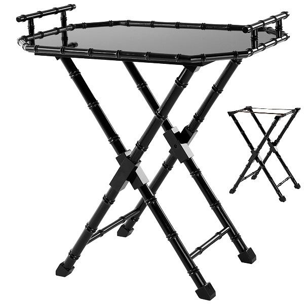 ProPassione Eichholtz Butlertisch Domingue, Piano-Lack schwarz, Tablett abnehmbar, klappbar, L 84 x B 60 x H 89,5 cm