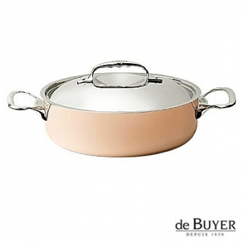 de Buyer, Pot, low with handles and lid, for induction, 90% copper, 10% stainless steel, solid stainless steel handles, Ø 24 x h 7.0 cm, 3.0 l