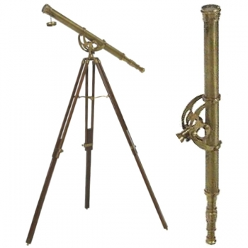 Eichholtz Telescope with Tripod, antique brass, magnification x 7, tripod brown wood with antique brass fittings, h 170 x Ø 65 cm
