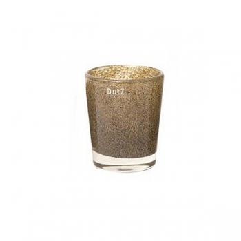 Collection DutZ® vase Conic, h 14 x Ø 12 cm, argent/marron avec cloques