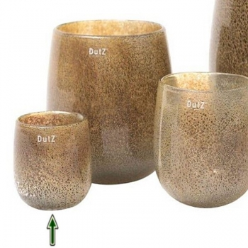DutZ®-Collection Vase Barrel, H 13 x Ø 10 cm, Silber/Braun mit Bubbles