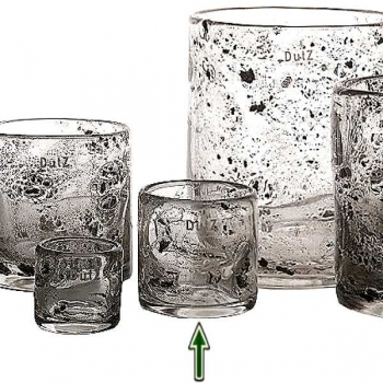 DutZ®-Collection Windlight Votive, h 10 x Ø 9 cm, clear with metal flakes