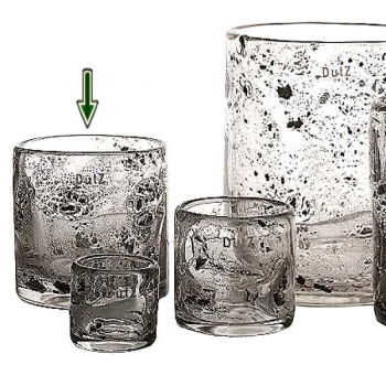 DutZ®-Collection Vase Cylinder, h 14 x Ø 14 cm, clear with metal flakes