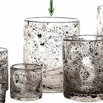 DutZ®-Collection Vase Cylinder, H 25 x Ø 20 cm, clear with metal flakes