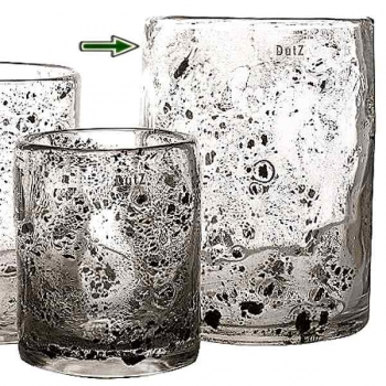 DutZ®-Collection Vase Cylinder, h 30 x Ø 22 cm, clear with metal flakes