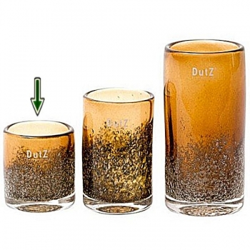 DutZ®-Collection Windlicht Votive, H 10 x Ø 9 cm, Cognac mit Bubbles