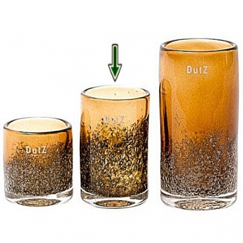 DutZ®-Collection Windlicht Votive, H 14 x Ø 9 cm, Cognac mit Bubbles