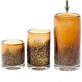 Collection DutZ® vase Cylinder, h 14 x Ø 14 cm, cognac avec cloques