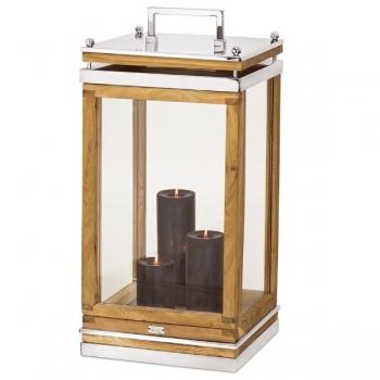 Edzard Lantern/Windlight Huntsville, shiny nickel plated/glas/wood, h 66 x w 32 x d 32 cm