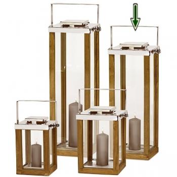Edzard Laterne/Windlicht Miami, glänzend vernickelt/Glas/Holz, H 60 x B 23 x T 23 cm