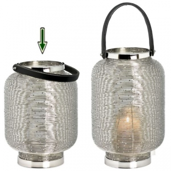 Edzard Lantern/Windlight Lakewood, shiny nickel plated/leather, h 31 x Ø 21 cm