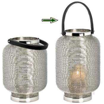 Edzard Lantern/Windlight Lakewood, shiny nickel plated/leather, h 35 x Ø 22 cm