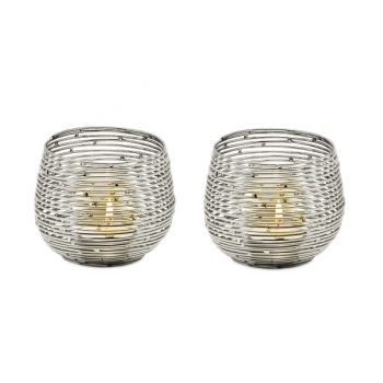 Edzard Tealight Holder Roseville, set of 2, shiny nickel plated, silver, h 8 x Ø 10 cm