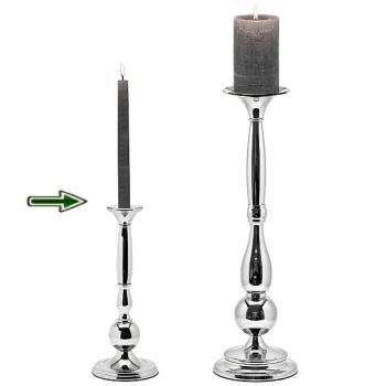 Edzard Chandelier/Candle Holder Ferdinand, shiny silver plated non tarnishingt, h 31 x Ø 12 cm