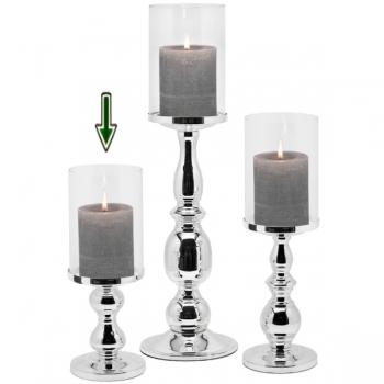 Edzard Windlicht/Kerzenleuchter Mascha, glänzend versilbert, anlaufgeschützt, H 28 x Ø 10 cm