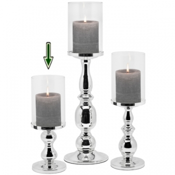 Edzard Windlight/Candle Holder Mascha, shiny silver plated non tarnishing, h 28 x Ø 10 cm