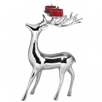 Edzard Candle Holder Reindeer standing, polished aluminium, h 25 x l 15 cm, candle holders (2) Ø 4.5 cm