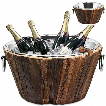 Edzard Champagne-Cooler/Wine-Cooler Montgomery with 2 ring handles, nickel plated/Teakwood, h 25 x Ø 47 cm