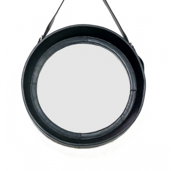 Design Wall Hanging Mirror with leather frame and leather belt hanger, black, round, Ø 50 cm