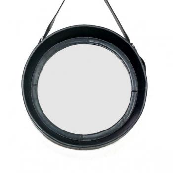 Design-Wandspiegel mit Leder-Rahmen und Leder-Aufhängeriemen, Schwarz, rund, Ø 50 cm