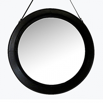 Design Wall Hanging Mirror with leather frame and leather belt hanger, black, round, Ø 70 cm