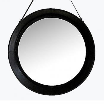 Design-Wandspiegel mit Leder-Rahmen und Leder-Aufhängeriemen, Schwarz, rund, Ø 70 cm