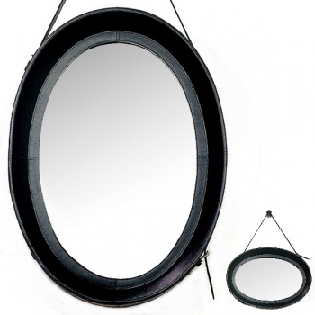 Design Wall Hanging Mirror with leather frame and leather belt hanger, black, oval, h 70 x w 51 cm