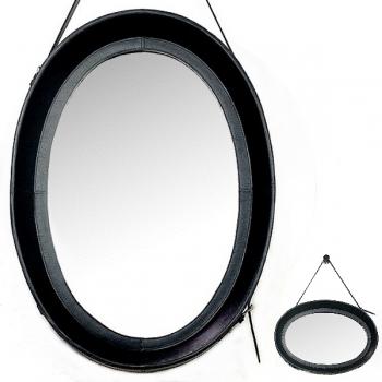 Design-Wandspiegel mit Leder-Rahmen und Leder-Aufhängeriemen, Schwarz, oval, H 70 x B 51 cm
