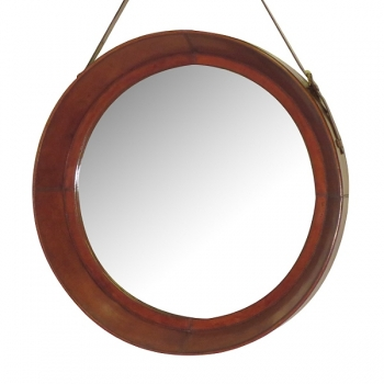 Design Wall Hanging Mirror with leather frame and leather belt hanger, tan, round, Ø 70 cm
