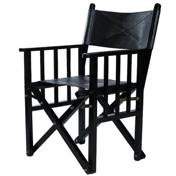 Deluxe Director's Chair, Safari Chair, black, cowhide leather/exotic wood, nickel hinges, h 85 x w 59 x d 51 cm
