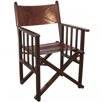 Deluxe Director's Chair, Safari Chair, tan, cowhide leather/exotic wood, brass hinges, h 85 x w 59 x d 51 cm