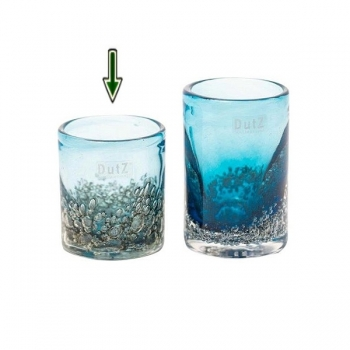 DutZ®-Collection Vase Cylinder, H 10 x Ø 9 cm, Stahlblau mit Bubbles