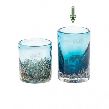 DutZ®-Collection Vase Cylinder, h 14 x Ø 9 cm, blue with bubbles