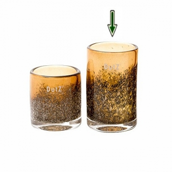 DutZ®-Collection Vase Cylinder, H 14 x Ø 9 cm, Cognac mit Bubbles