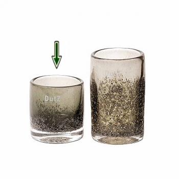 DutZ®-Collection Vase Cylinder, H 10 x Ø 9 cm, Oliv mit Bubbles