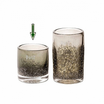 Collection DutZ ®  vase Cylinder, h 10 x Ø 9 cm, olive avec des bulles