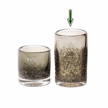 Collection DutZ ®  vase Cylinder, h 14 x Ø 9 cm, olive avec des bulles