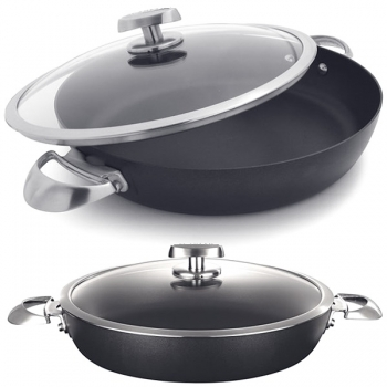 SCANPAN Pro IQ, Chef Pan with glass lid, cast aluminium, non-stick coating, handles stainless steel, Ø 32 cm, 3.5 l