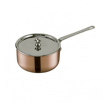 SCANPAN Maitre D', Mini Pan with lid, shiny pol. copper/stainless steel, handles stainless steel, Ø 10 cm, 0.35 l