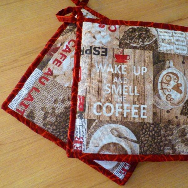 "Kentyon- Design-Topflappenpaar ""Coffee"", ca. 25 x 25 cm, mit Aufhängern"