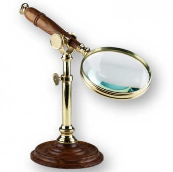 Magnifying Glass with Stand, shiny polished brass, wood, magnification x3, Dimensions glass: l 25 x Ø 10 cm, stand: h 18 x Ø 11.5 cm