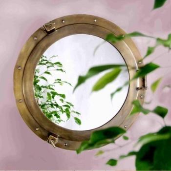 Miroir en forme de hublot de cabine, aluminium massif bronzé, Ø 38 cm