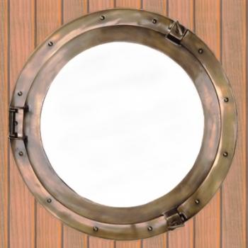 Bullaugenspiegel aus bronziertem, massivem Aluminium, Ø 51 cm