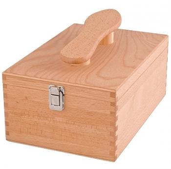 Boîte à cirage avec repose-pied, hêtre massif huilé, dimensions: L 34,5 xl 23 x h 14 cm