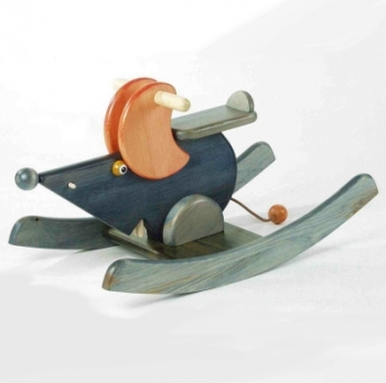 Swing Animal Mouse Betsy, pine wood, colour stained and lacquered, Dimensions: l 83 x w 35 x h 41 cm