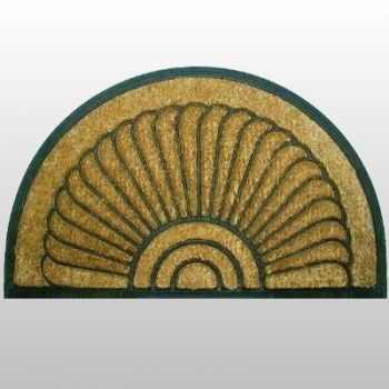 Coco Rubber Mat Mussel, large, with anti slip backing, semicircular Dimensions: l 100 x w 60 cm